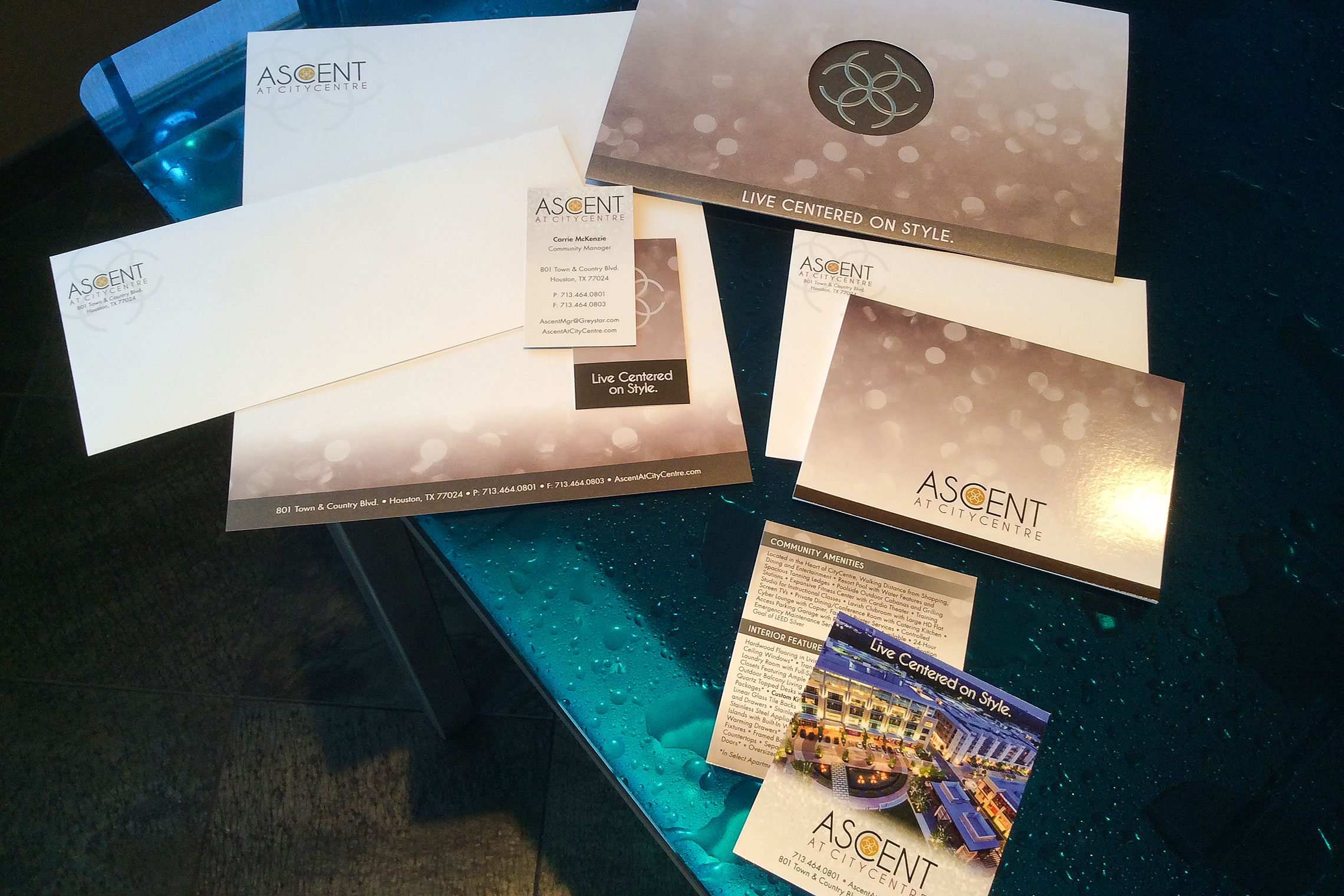 Ascent at CITYCENTRE Collateral - Brochure, Thank You Card, Promo Card, Business Card, Letterhead and Envelope