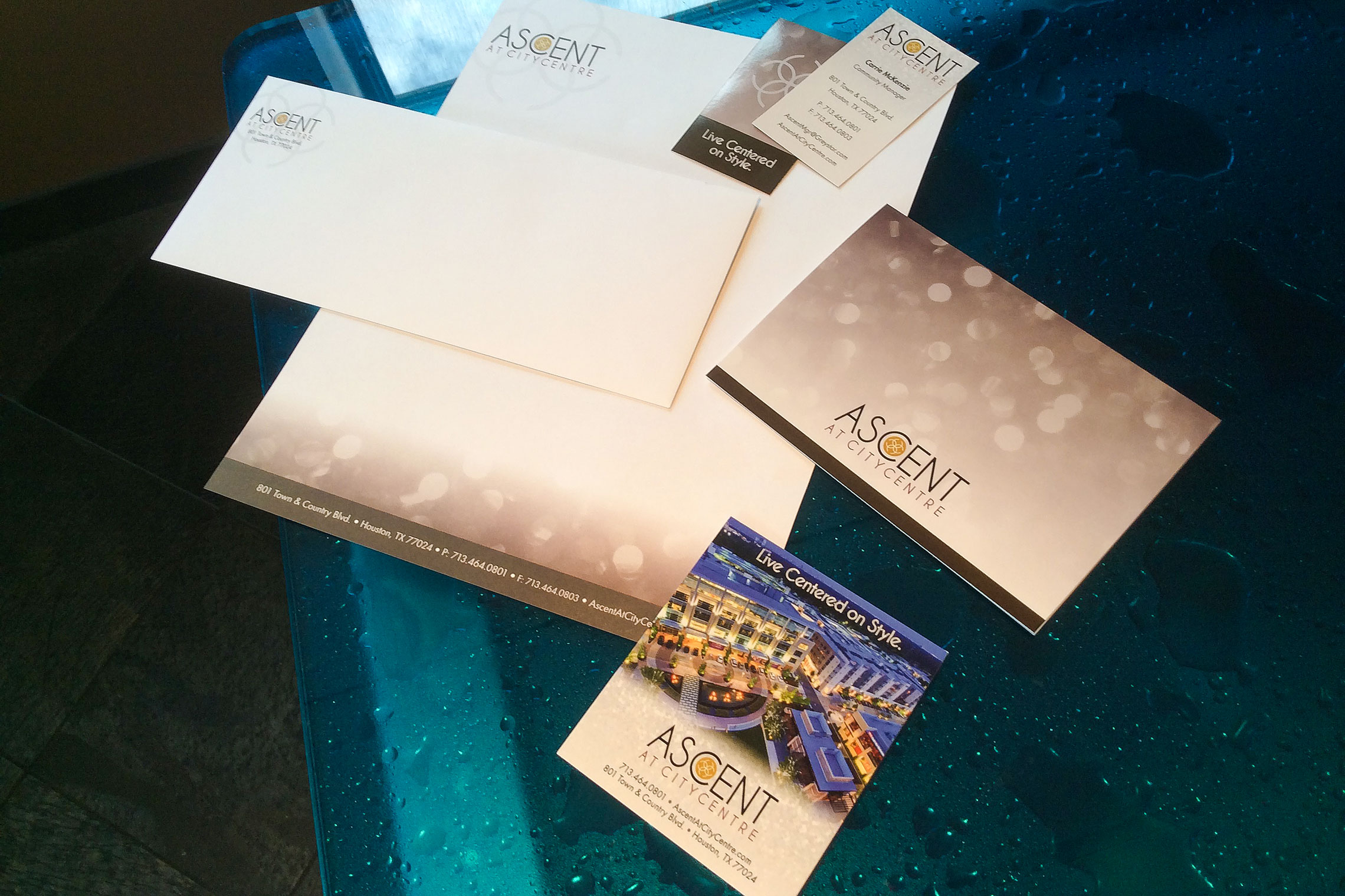 Ascent at CITYCENTRE Collateral - Amenity Fold-Out, Promo Card, Business Card, Letterhead and Envelope