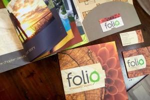 Folio Pocket Folder Brochure with Floor Plan Inserts and Business Card Slit