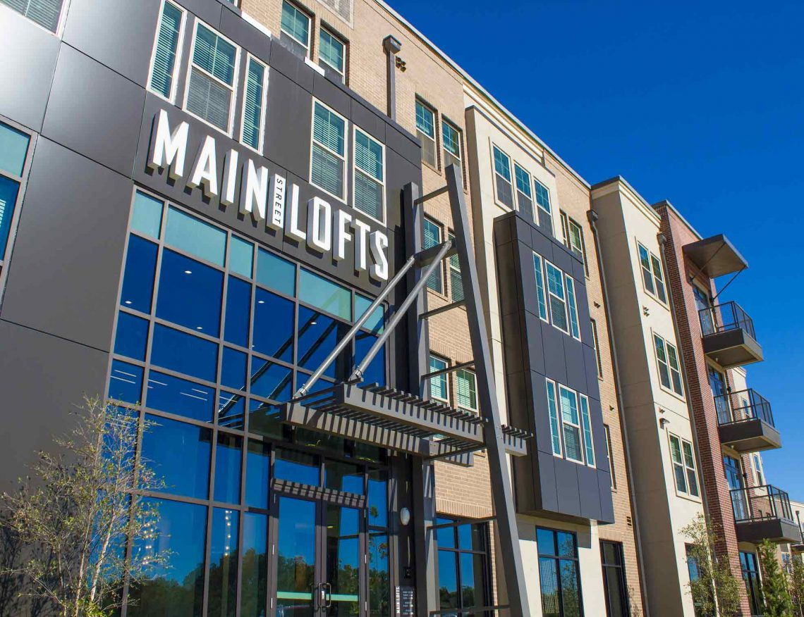 Main Street Lofts Industrial Design with Channel Set Letters Above Leasing Office