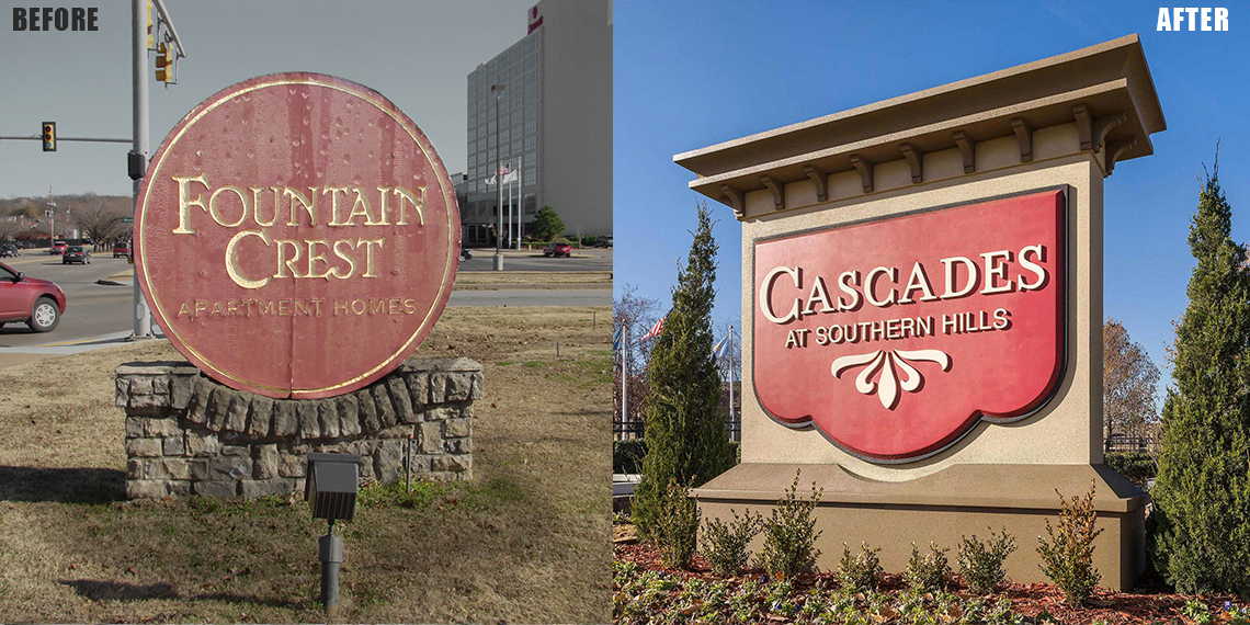 Monument Signage with Water Damage - Before & After